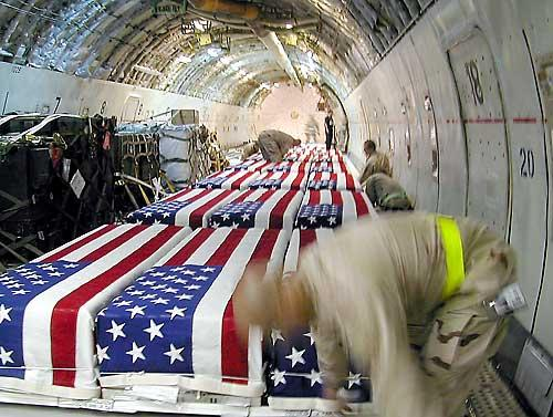 Flag-draped coffins